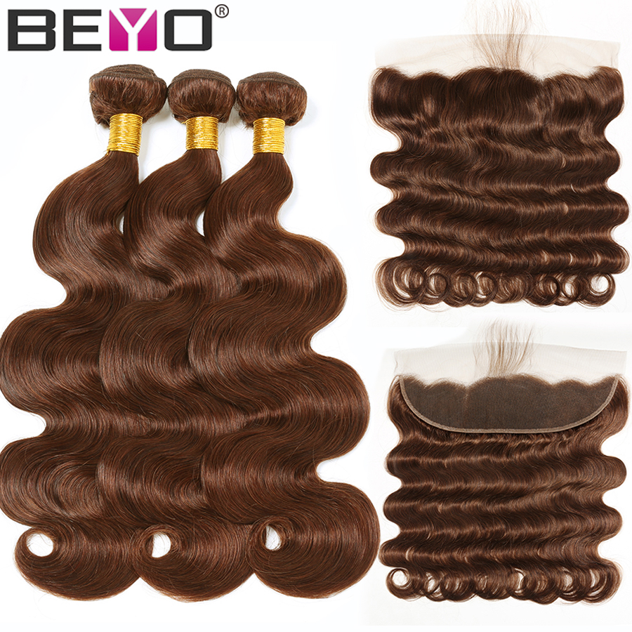 Beyo Light Brown Frontal With Body Wave Bundles Peruvian Hair Bundles #4 Human Hair Bundles With Frontal Non Remy