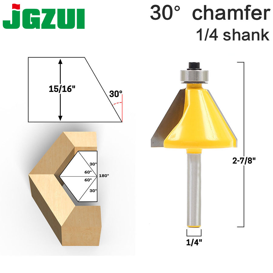 1pc 1/4 Shank 30 Degree Chamfer & Bevel Edging Router Bit woodworking cutter woodworking bits