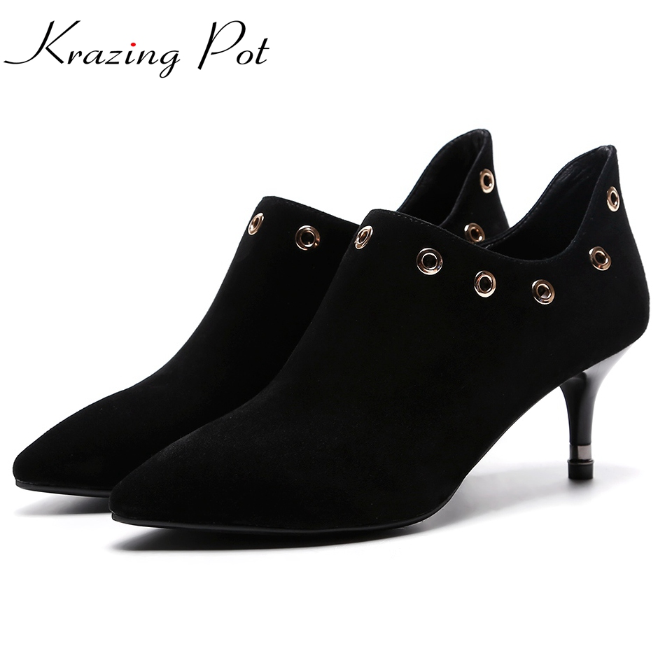 Krazing pot recommend sheep suede rivets fastener high heels stiletto woman pumps pointed toe Autumn Winter sexy party shoes L01 krazing pot empty after shallow shoes woman lace work flats pointed toe slip on sheep suede causal summer outside slippers l16
