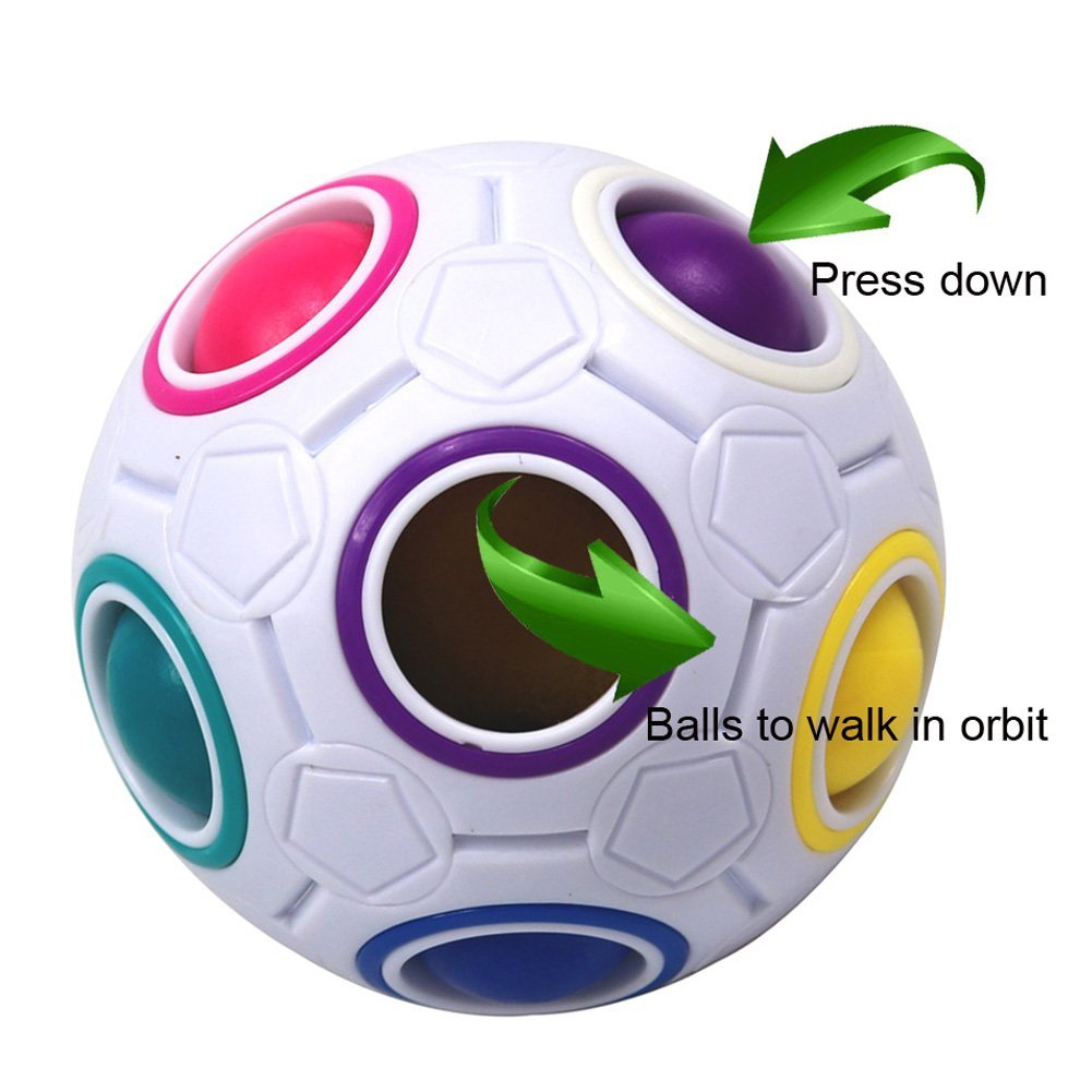 Creative Rainbow Football Spherical Magic Cube Toy Puzzles Kids Educational Toys Magic Rainbow Ball For Children Adult Gift