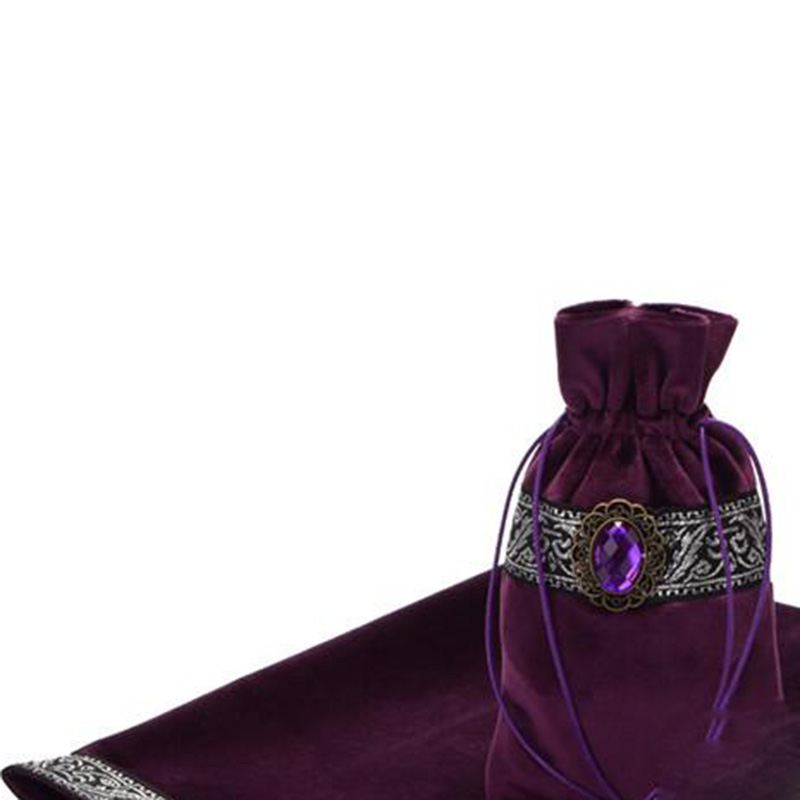 Board Game Accessories By Hand Tarot Tablecloth With BagsFlocking Fabric Beautiful Stone