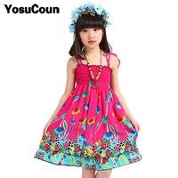Bohemian Girls Dress Summer Beach Style Kid Dress Shoulderless Clothes Children Clothing Sundress Girl Custom