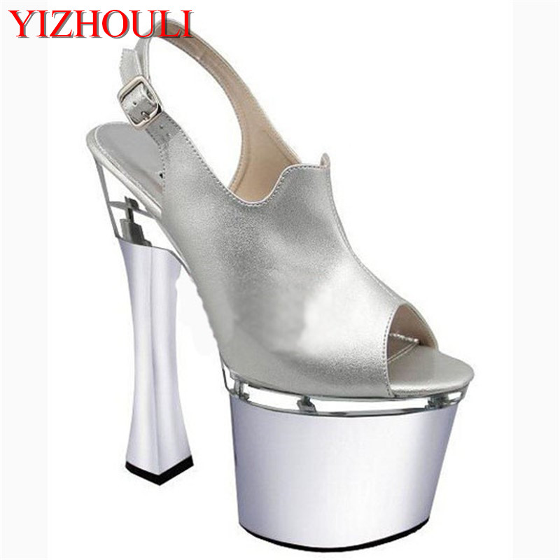 White Simple Belt Transparent Platform Open Toe 20cm Ultra High Heels  Slippers 8 Inch Sexy Party Crystal Shoes 9e2e7aa44249