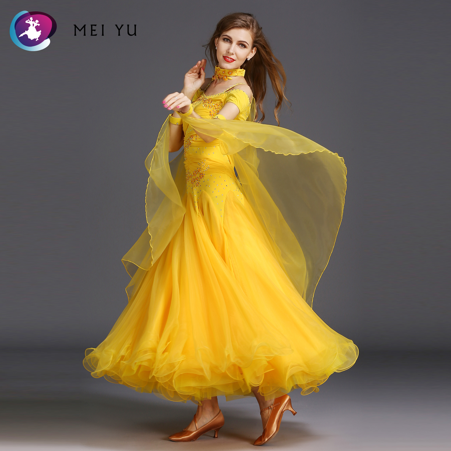 Objective Mei Yu Hb183 Modern Dance Costume Women Lady Adult Waltzing Tango Rhinestone Dancing Dress Ballroom Costume Evening Party Dress Ballroom Novelty & Special Use