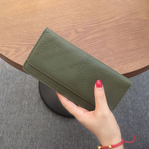 Image 4 - Genuine Leather Women Wallet Fashion Solid Color Coin Purse Multifunctional Cowhide Female Long Women Purses Zipper Card Holder