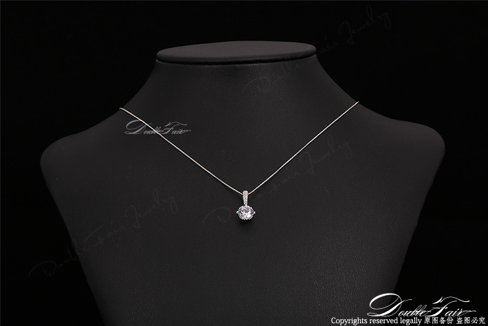 Fashion Women Rose Gold Color Zircon Crystal Pendant Necklace Wedding Jewelry