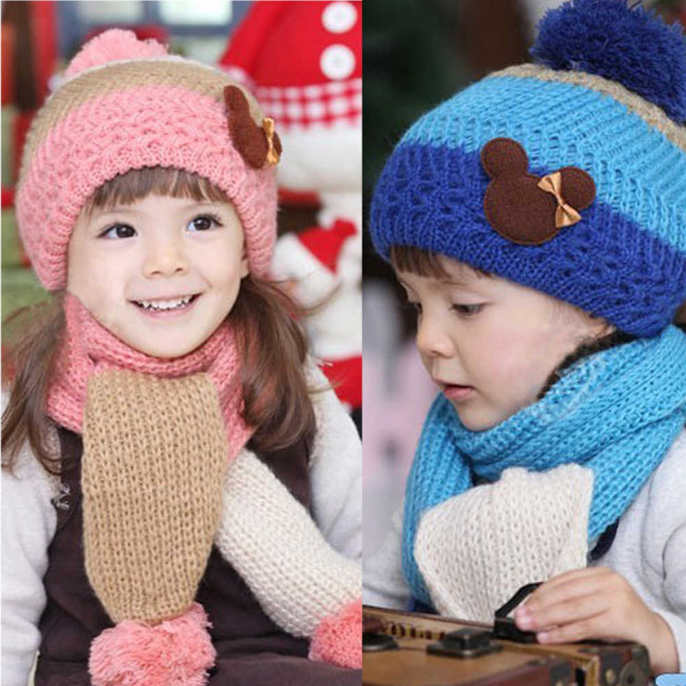 cb29d8607d4 Winter Hats For Girls Kids Fashion Baby Hat Warm Knitted Wool Scarf Cap Set  Warm Hooded