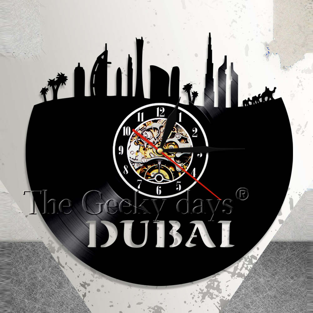 United Arab Emirates Wall Clock Dubai Skyline Vinyl Record Cs