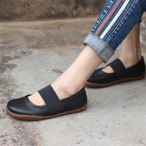 Image 5 - Zapatos planos de cuero genuino para mujer, zapatos informales oxford planos, calzado femenino, novedad primavera 2020, amarillo y negro