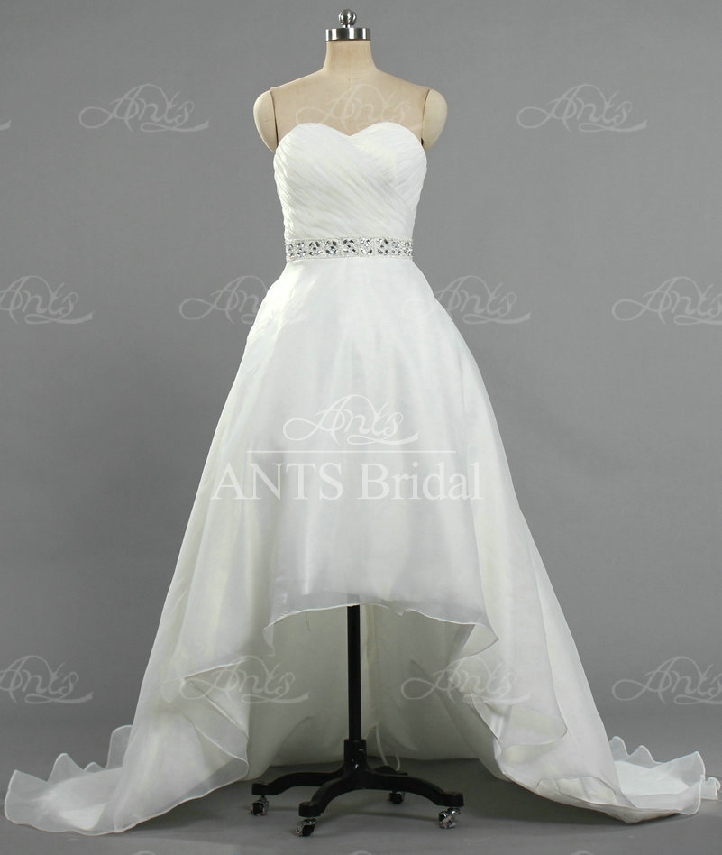 AW035 Sweetheart White Elegant Beaded Belt A Line Organza