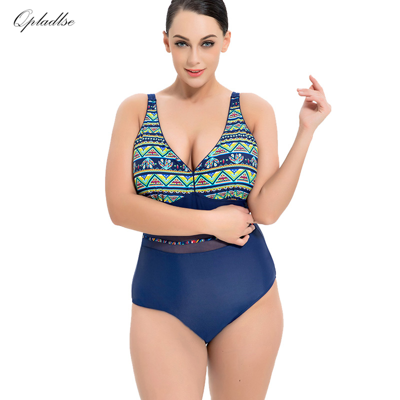 fe71307424767 Bather One Piece Indoor Swimsuit Female Plus Size Swimwear 2018 Push Up  Bodysuit Large Swimming Suit For Women May Beach Bathing