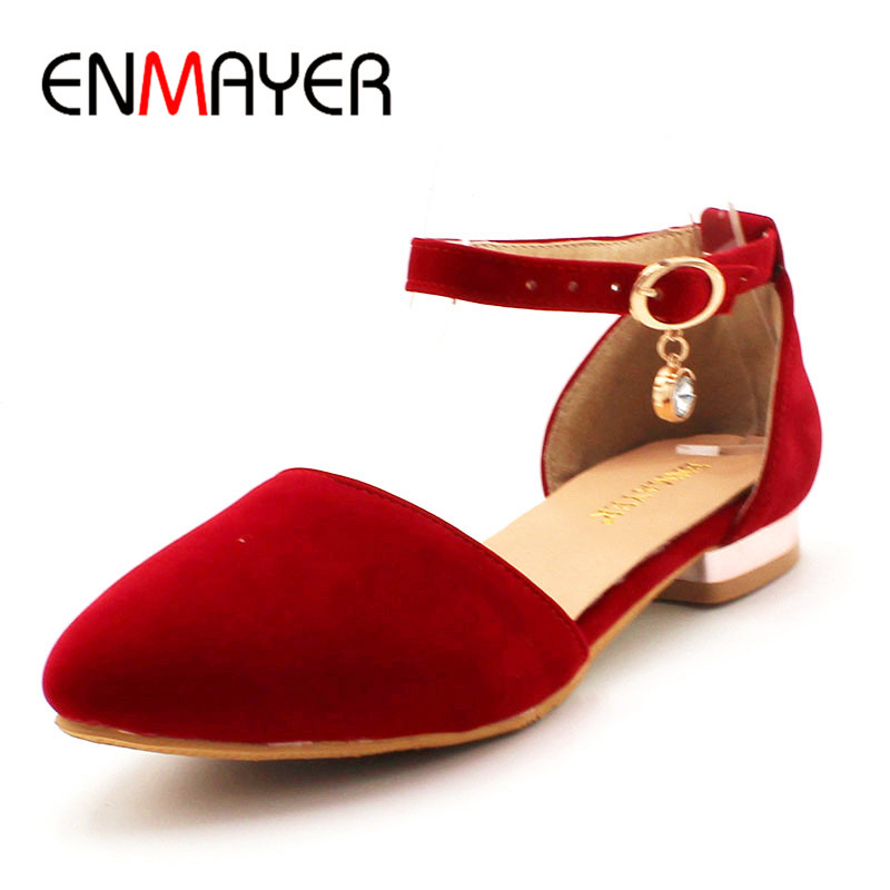 ENMAYER Summer Women Fashion Flock Sandals Pointed Toe Buckle Strap Square Heel Large Size 34-43 Black Blue Red Apricot women t strap moccasins flat shoes low heel sandals black gray pink pointed toe ballet flats summer buckle zapatos mujer z193