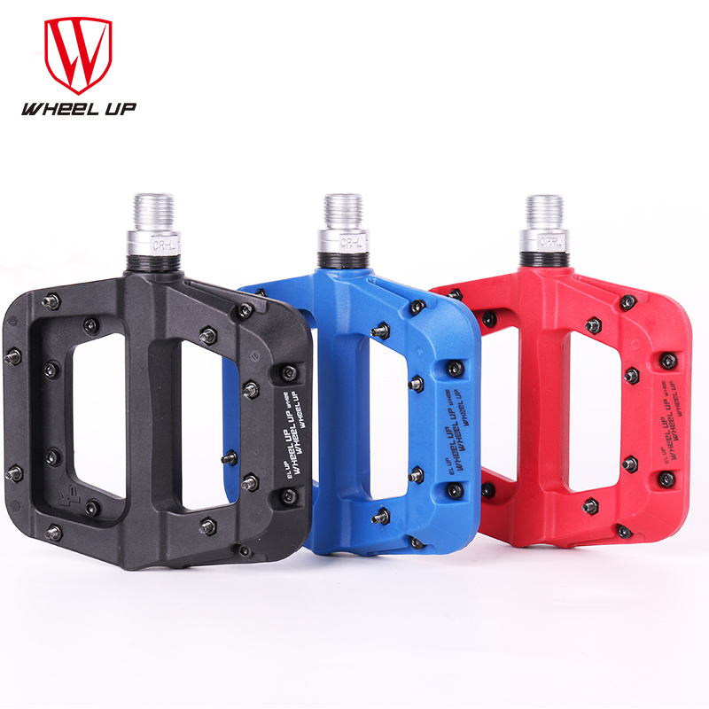 WHEEL UP Mountain Bike Pedal MTB Pedals BMX Bicycle Flat Pedals Nylon 3 Colors MTB Cycling