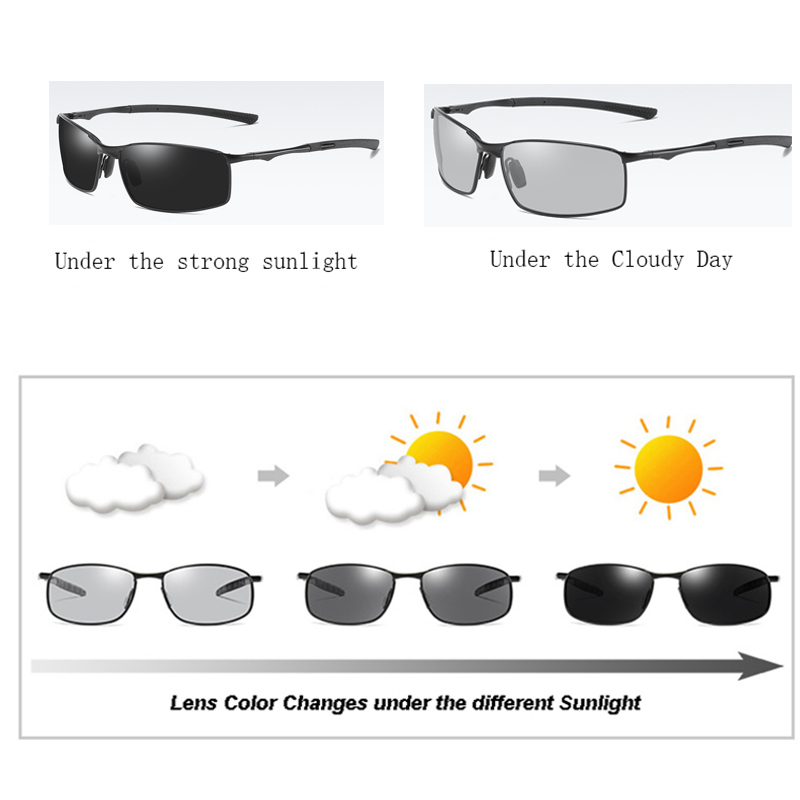 AORON Photochromic Polarized Sunglasses,Polarized Sunglasses,Night vision Mens Driving Sun Glasses Driver Safty Goggles UV400(China)