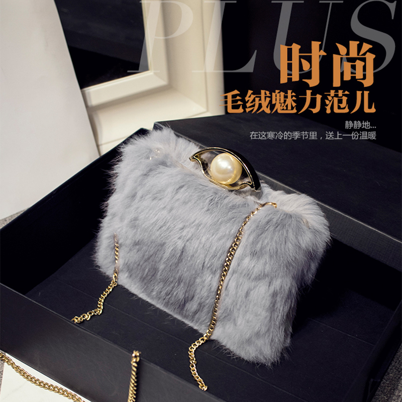 ФОТО Luxury Socialite Shoulder Rabbit Bag Button Chains Women Soft Crossbody bag girl Flap Hot sale popular Minaudiere F094