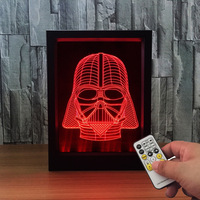 Star Wars 3D Novelty Photo Frame Darth Vader Table Lamp 7 Color Changing Night Light Acrylic