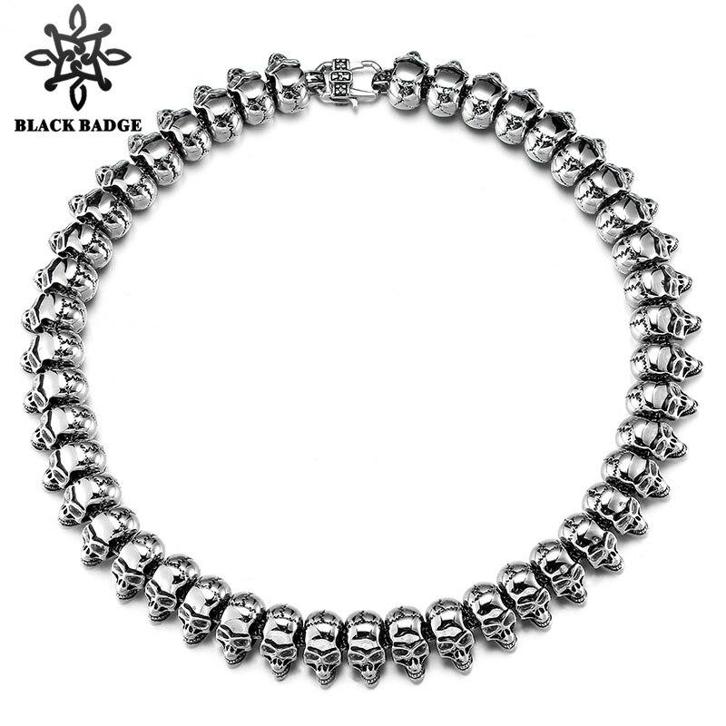 Bijoux fantaisie Long argent couleur gourmette chaîne cubaine collier crâne colliers pour hommes femmes fête Hip Hop bijoux
