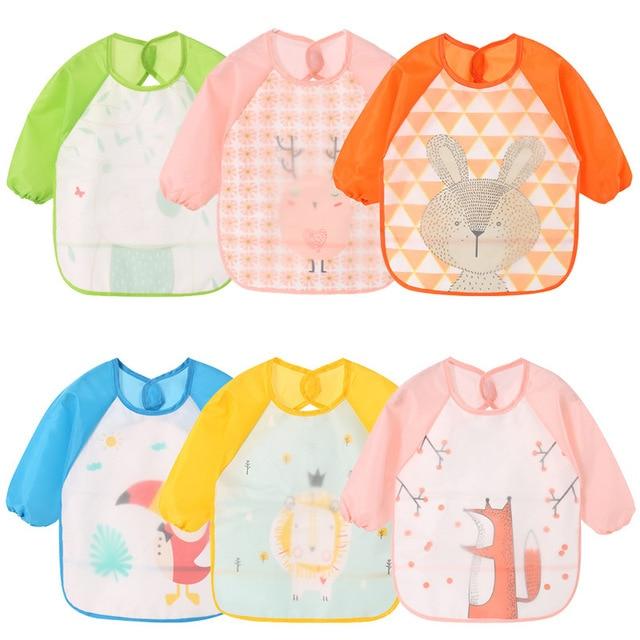 Baberos de bebé EVA con mangas largas para niños alimentando ropa infantil baberos Bandana impermeables babero de bebé bufandas para niños