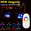4pcs 30cm 18leds RGB LED Strip Light Music Control LED Strip lights 8 Colors Car Styling Atmosphere Lamps With Touch Remote