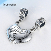 100 925 Sterling Silver Bead Charms Mother Daughter Silver Heart Bead Pendant Fit Pandora Bracelet Bangle