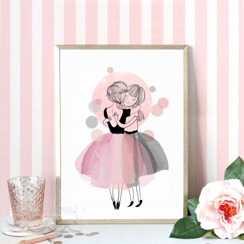 Aliexpress.com : Buy Watercolor Hug Girls Canvas Art Print ...