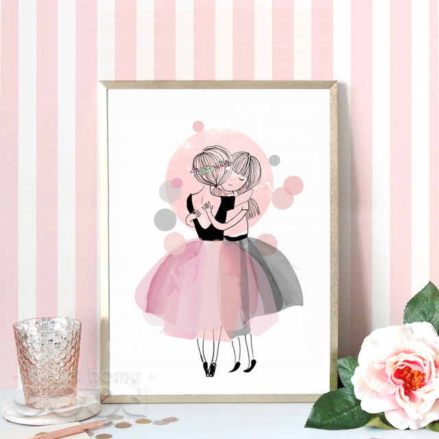 watercolor hug girls canvas art print poster wall pictures for girl room decoration giclee. Black Bedroom Furniture Sets. Home Design Ideas