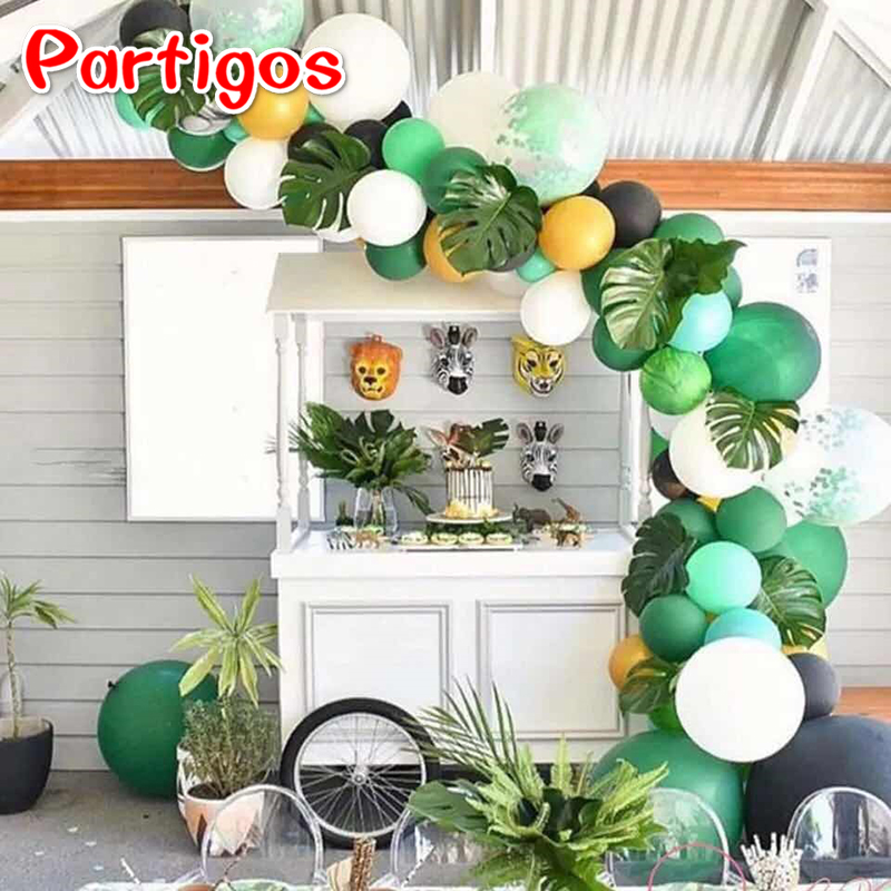 Us 0 9 25 Off Wedding Party Decorations Flamingo Summer Party Supplies Palm Leaves Hawaiian Jungle Party Beach Theme Pineapple Balloon Decor In