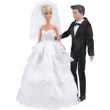 Saleaman brudekjole Beautiful Gown Bride Dress Klær med Veil og Brudgom Formell Outfit Business Suit for Barbie Ken Dolls