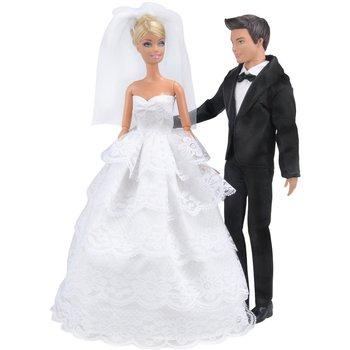 09f81cb85 Saleaman boda Vestido hermoso vestido de novia ropa con velo y novio Formal  traje de negocios para bebé muñecos Ken