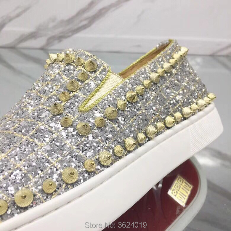 Zapatos Cuero De 2018 Remaches Blingbling Plata Bottom Mocasines Calzado Red Hombres Bajo Espiral Un Zapatillas Cl Corte Círculo Andgz rrBdZxCqw