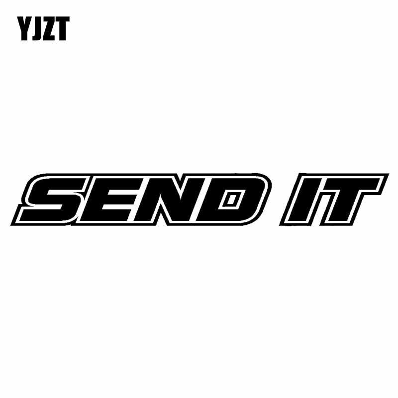 YJZT 13CM*1.8CM SEND IT Vinyl Decal Car Sticker TURBO Diesel Boost Truck Black Silver C10-00856