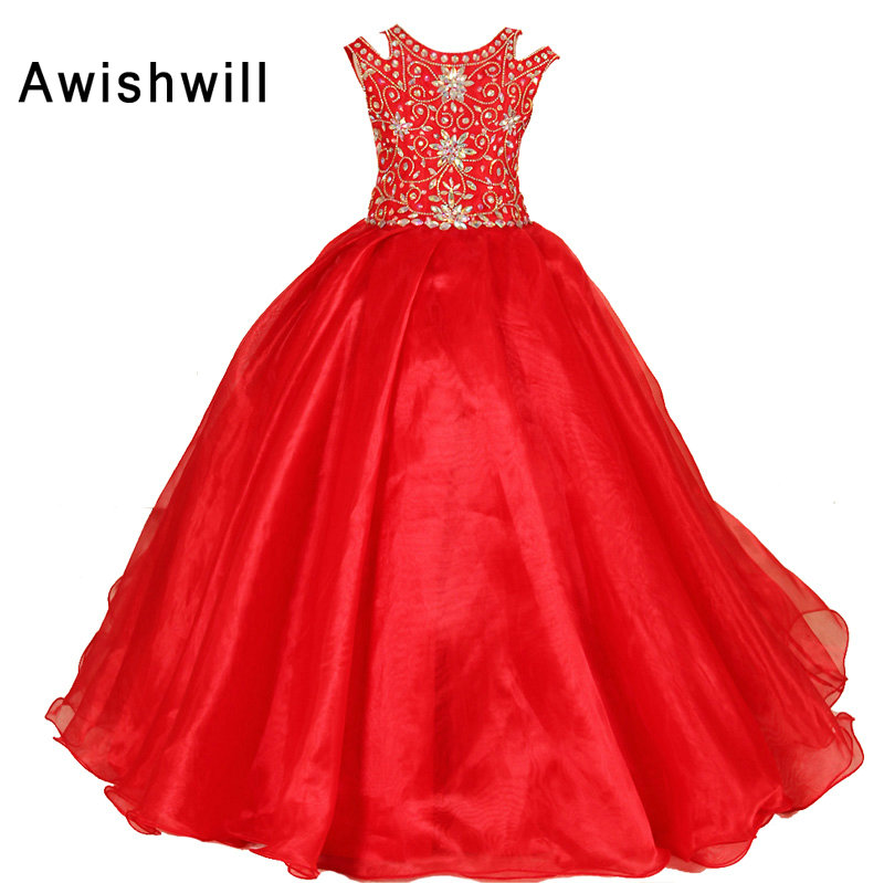 2019 New Arrival Little Girls Pageant Dress Red Color Ball Gowns Beadings Organza Flower Girl Dresses Brithday Party Dress Girl