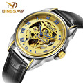 BINSSAW clock Casual Mens Watches Men Luxury Brand Skeleton Leather Strap Mechanical Watch Vintage Reloj Dress Relogio Masculino