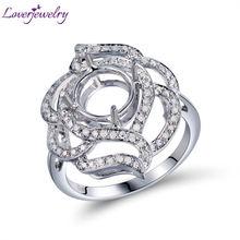 Для женщин, сделай сам, ювелирное изделие, круглый, 6,5 мм, 14 к, белое, ТВЕРДОЕ ЗОЛОТО, полукрепление, кольцо, крепление, боковое, бриллианты, Установочное кольцо для женщин, свадебный подарок