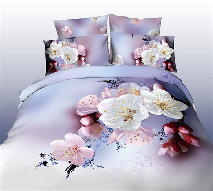 4pcs 3d Bedding Sets Bedroom Cherry Peach Blossom White