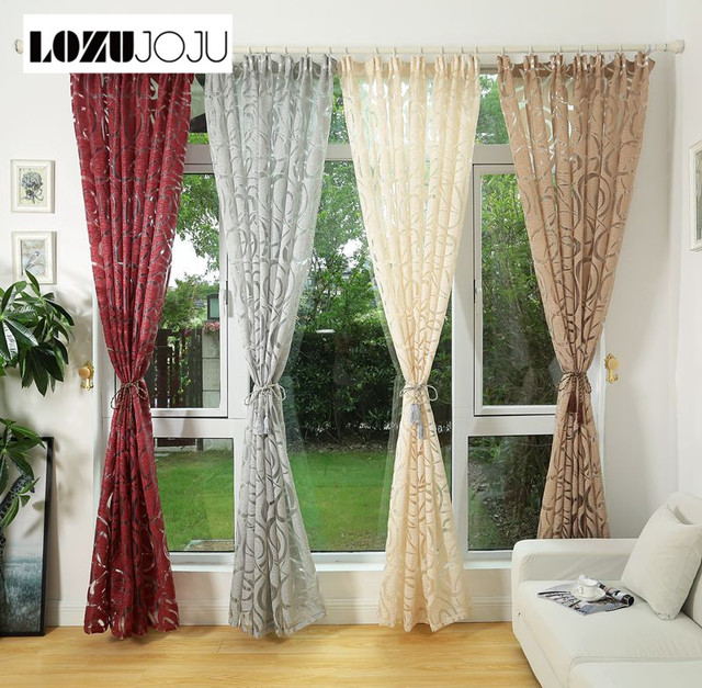 US $10.2 25% OFF LOZUJOJU Modern design jacquard window curtain for Living  room bedroom tulle home drapes window semi blackout blinds-in Curtains from  ...