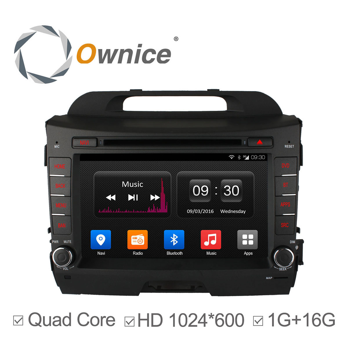 1024*600 Android4.4 car dvd gps player for KIA sportage r 2014 2011 2012 2013 2015 in dash car radio gps 16G ROM support 3G DAB+
