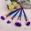 7pcs Set Diamond Rainbow Handle Soft Makeup Brushes Foundation Eyshadow Blusher Powder Blending Cosmetic Brush Kit