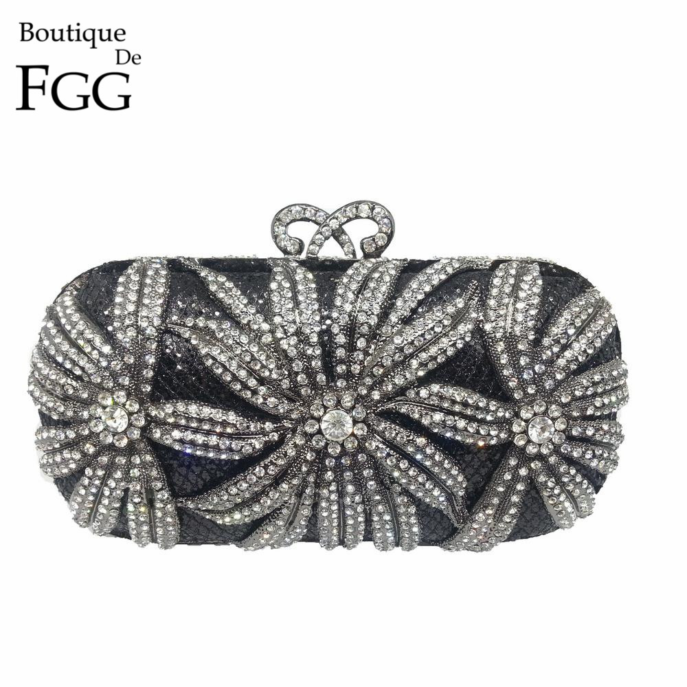 ФОТО Vintage Multi Crystals Casual Clutch Evening Women Clutches Hollow Out Ladies Rhinestones Gun Metal Clutch Bags Bolsa De Mano