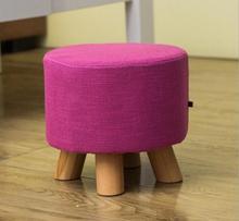 28 30cm four legs Linen cloth Ottoman sofa stool Wood Footstool Mushroom stools