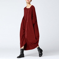 2018 Plus Size ZANZEA Women Dresses V Neck Zip Up Kaftan Long Sleeve Vestidos Casual Loose