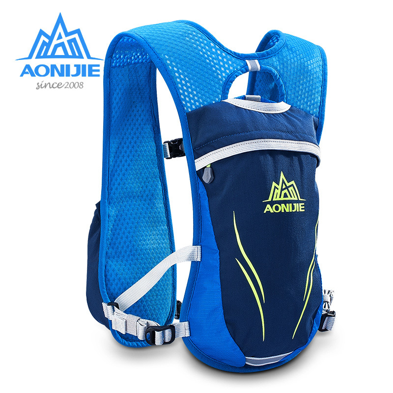 AONIJIE 5.5L Sport Running Bag met 2pc 250ML Flessen Outdoor Fietsen Rugzak Packsack Riding Bike Hiking Camping Rugzak