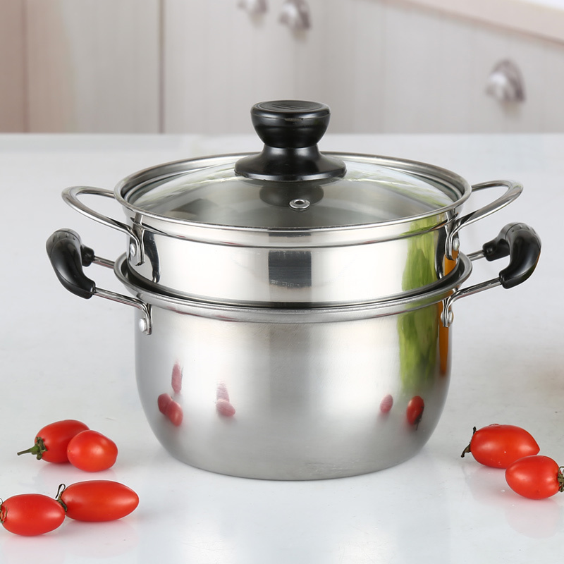 Stainless Steel Small Milk Noodle Soup Pot Mini Steamer Breakfast Hot Pot Baby Health Food Cooker Coal Gas Induction Cooker Pan