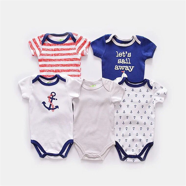 Infant Baby Bodysuits 5Pcs/lot Baby Boys Girls Short Sleeve Clothes Lovely Cartoons Newborn 100% Cotton Bodysuit Summer Fashion