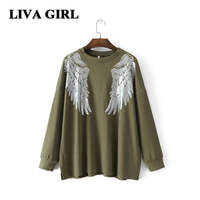 Liva Girl Women S Autumn Winter 2017 Warm Cotton O Neck Long Sleeve Sweatshirts Women Embroidery