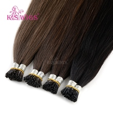 K.S WIGS Straight Remy I Tip Human Hair Extensions Double Drawn Pre bonded Fusion 20 28 1g/s