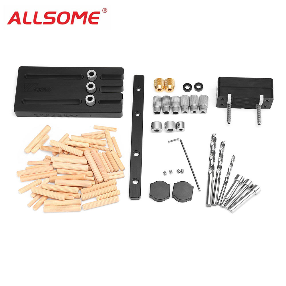 ALLSOME Woodworking Dowel Jig Set Drill Guide Locator Dowelling Jig Master Kit for 6/8/10mm Dowels HT2271 6 8 10mm conductor for drilling mini pocket hole jig woodworking drill guide set locator dowel jig guide power tools