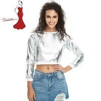 Deviz Queen Gold Silver Glitter BLING Women S Sexy Slim Shirt With Long Sleeved T Shirt