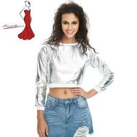 Deviz Queen Gold Silver Glitter BLING Women's Sexy Slim Shirt With Long Sleeved T-shirt Ladies Clothing Metallic Sheer