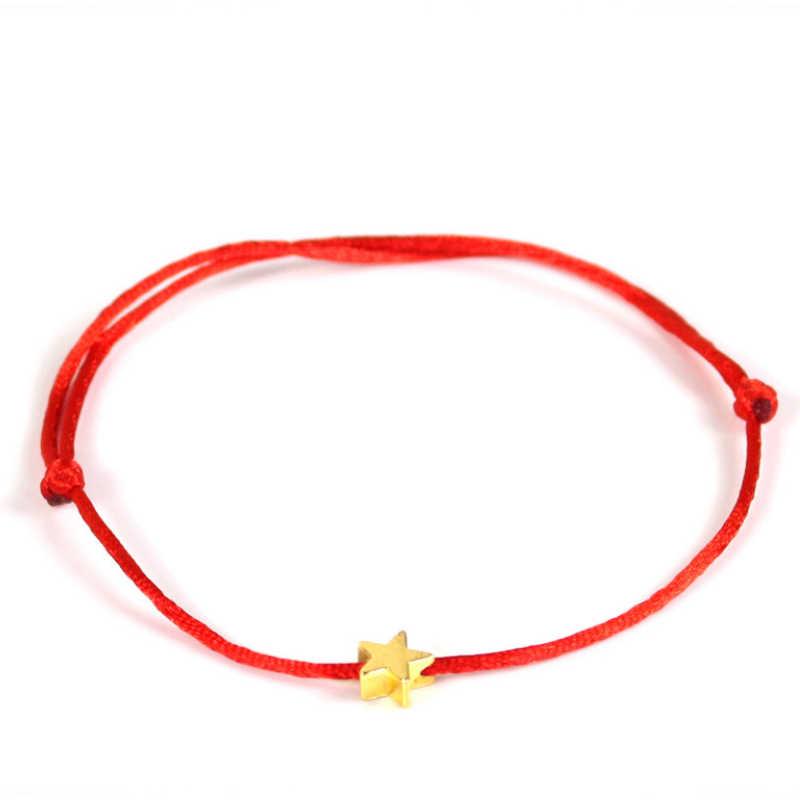Venda 1 pc lucky golden cross estrela coração de cristal pulseira para as mulheres crianças corda vermelha ajustável artesanal pulseira jóias diy